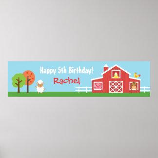 Baner för födelsedagsfest för lantgårdBarnyard Poster