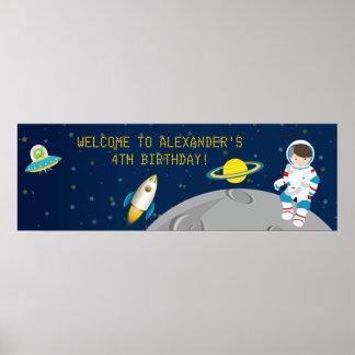 Baner för rymdenastronautfödelsedag poster