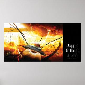 Baner för Spaceshippojkefödelsedagsfest Poster