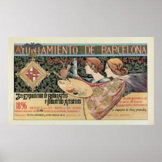 Baner för vintageart nouveauBarcelona vågrät Posters