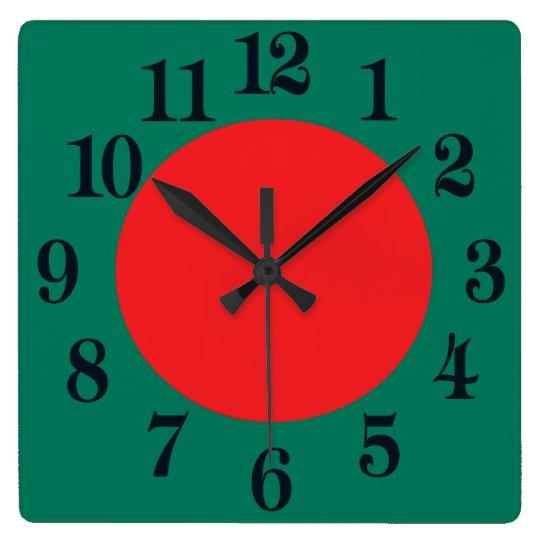 Bangladesh flagga fyrkantig klocka