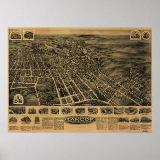 Bangor Pennsylvania 1918 antika panorama- karta Poster
