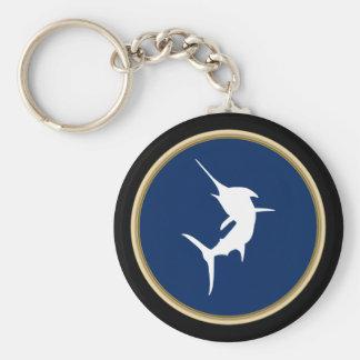 BanhoppningMarlin på mörk - blått Rund Nyckelring