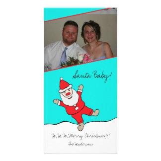 BanhoppningSanta baby Photocard för julafton Anpassingsbara Fotokort