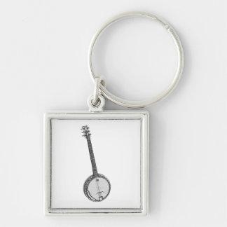 Banjo Fyrkantig Silverfärgad Nyckelring