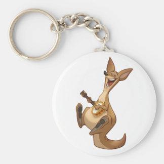 Banjo-Strummin' känguru Keychain Rund Nyckelring