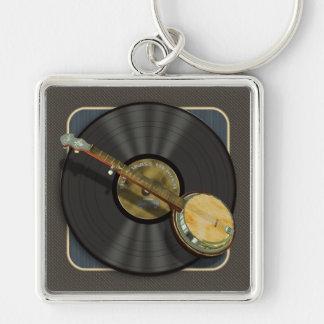 Banjomusik högvärdiga Keychain Fyrkantig Silverfärgad Nyckelring