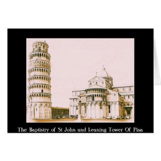 Baptisteryen av St John - luta torn av Pisa Hälsningskort