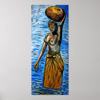 Bärande basket för topless afrikansk kvinna på huv poster
