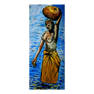Bärande basket för topless afrikansk kvinna som är poster