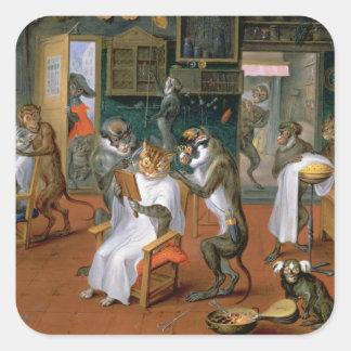 Barberaren shoppar med apor och katter fyrkantigt klistermärke