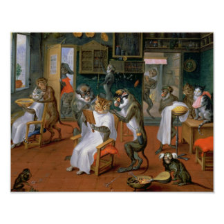 Barberaren shoppar med apor och katter poster