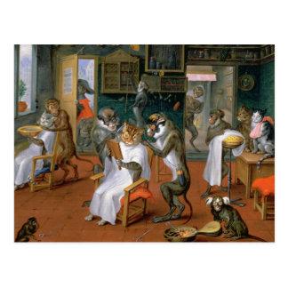 Barberaren shoppar med apor och katter vykort
