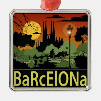 Barcelona julprydnad silverfärgad fyrkantigt julgransprydnad