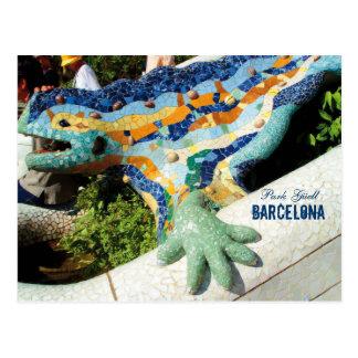 Barcelona parkerar Guell mosaik Vykort