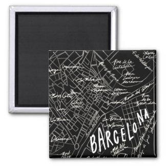 Barcelona Spanien kartamagnet - svart vintagestil Magnet