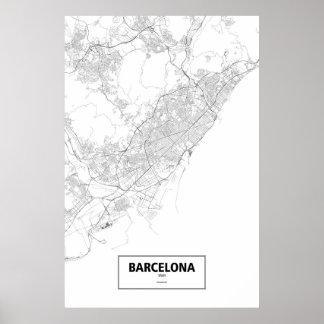 Barcelona Spanien (svarten på vit) Poster