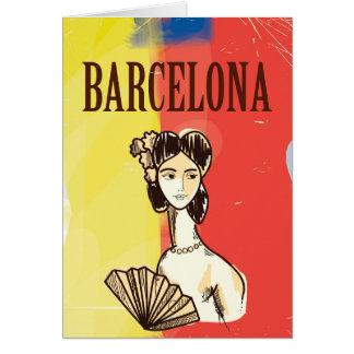 Barcelona Spanien vintage resoraffisch Hälsningskort