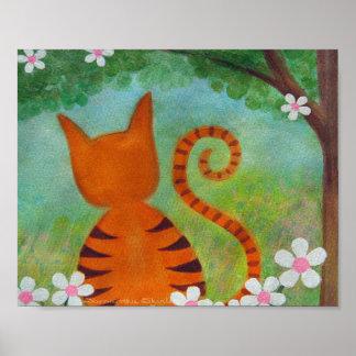 Barfota i parkera - kattungen lurar väggkonst affisch