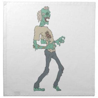 Barfota kuslig Zombie med att ruttna skisserade Tygservett