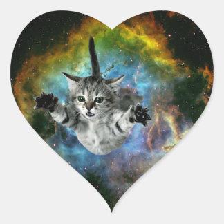 Barkass för kattunge för galaxkattuniversum hjärtformat klistermärke
