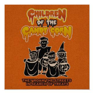 Barn av candy corn: Halloween fest Fyrkantigt 13,3 Cm Inbjudningskort