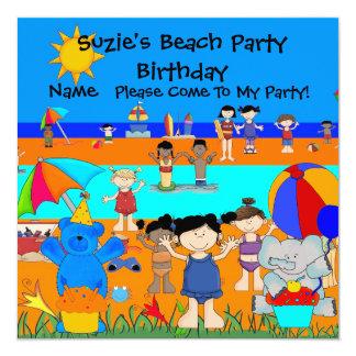 Barn för flickor för strand för fyrkantigt 13,3 cm inbjudningskort