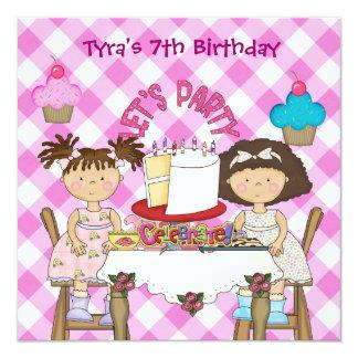 barn för muffins för flickor för födelsedag för fyrkantigt 13,3 cm inbjudningskort