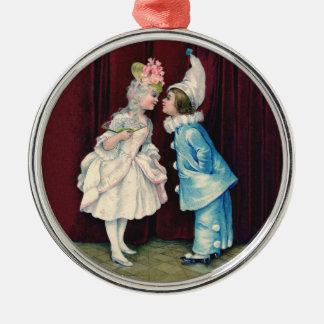 Barn i dräktprydnad, det 18th århundradet utrustar rund silverfärgad julgransprydnad