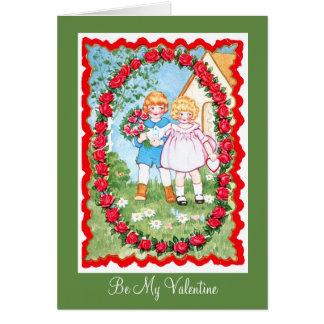 Barn i roramen Valenitne Hälsningskort