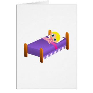 Barn i säng hälsningskort