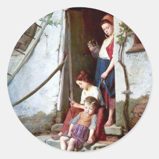 Barn och tupp med att måla för hönor runt klistermärke