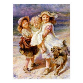 Barn på stranden vykort