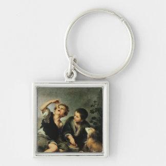 Barn som äter en paj, 1670-75 fyrkantig silverfärgad nyckelring