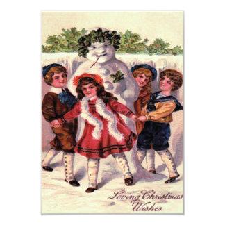 Barn som dansar snögubbekranjärnek 8,9 x 12,7 cm inbjudningskort