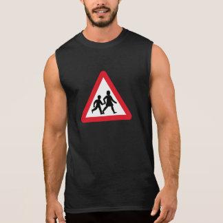 Barn som korsar, trafikerar undertecknar, UK T-shirts Utan Ärmar