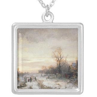 Barn som leker i en vinter, landskap silverpläterat halsband