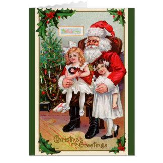 Barn som sitter på Santas varvhelgdagskort Hälsningskort