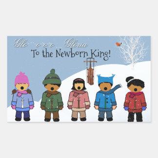 Barn som sjunger 'Gloria till den nyfödda kungen, Rektangulärt Klistermärke