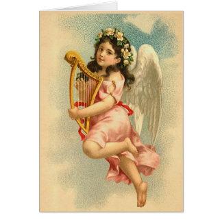 """""""Barnängel med harpa"""" vintage Hälsningskort"""