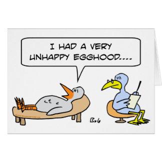 barndom för egghood för fågelpsykiater olycklig hälsningskort