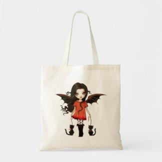 Barnet av Halloween den gulliga vampyren och katte Budget Tygkasse