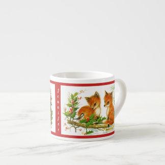 Barnets för julkaninräven kopp personifierar NAMN Espressomugg
