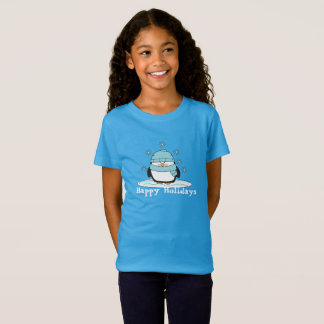 Barnflickor pingvin & bästa snowflakeglad helg tee shirt