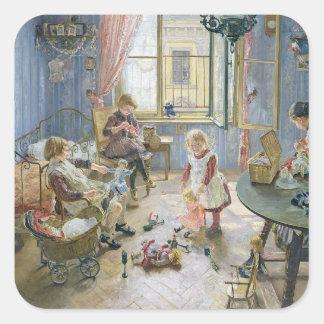 Barnkammare, 1889 fyrkantigt klistermärke