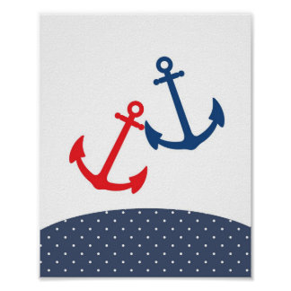 Barnkammare ankrar illustrationen för nautiska tem poster