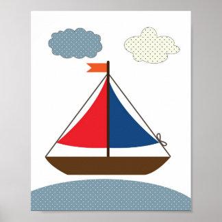 Barnkammarefartygillustration för nautiska temarum poster