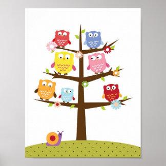 Barnkammareugglor på en trädväggkonst affisch