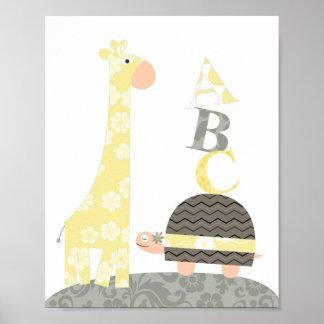 Barnkammareväggkonst (giraffsköldpaddaalfabet) poster