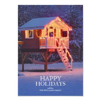 Barnlekstuga med snö och julljus 12,7 x 17,8 cm inbjudningskort